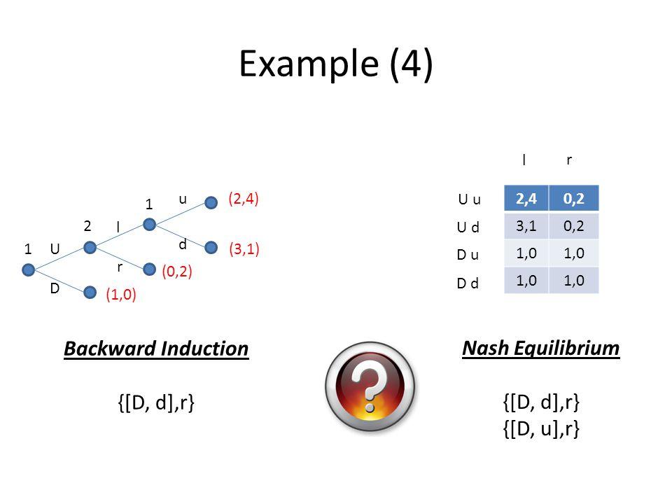 Example (4) Backward Induction Nash Equilibrium {[D, d],r} {[D, d],r}